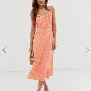 ASOS Orange & White Polka Dot Midi Dress